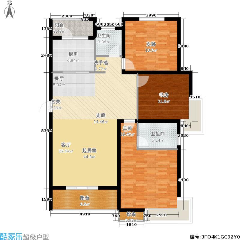 绿地高铁东城130.00㎡二期19#1单元01室3室户型