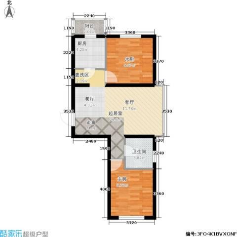 欣豪凤凰城2室0厅1卫1厨76.00㎡户型图