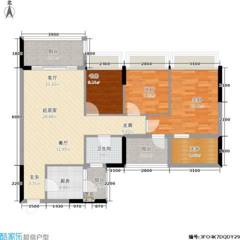 顺府江南3室0厅1卫1厨90.00㎡户型图