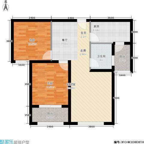 名士豪庭2室0厅1卫1厨102.00㎡户型图