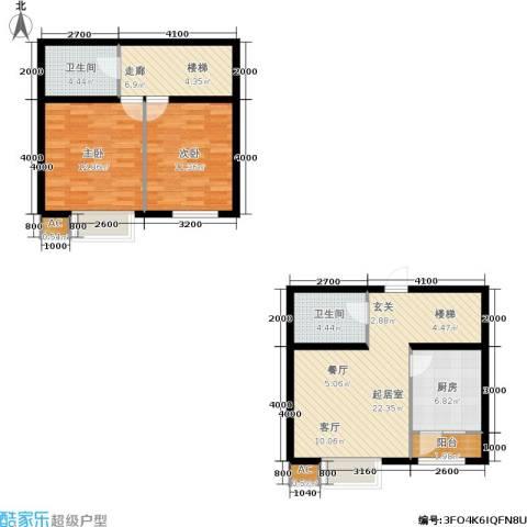 新城御景2室0厅2卫1厨98.00㎡户型图