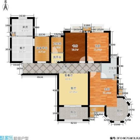 中南世纪城3室1厅2卫1厨171.00㎡户型图