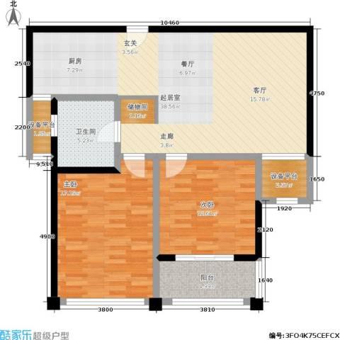 水岸豪庭东苑2室0厅1卫0厨94.00㎡户型图