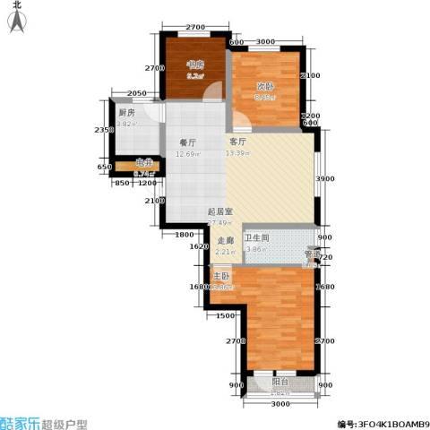 巴黎经典花园3室0厅1卫1厨96.00㎡户型图