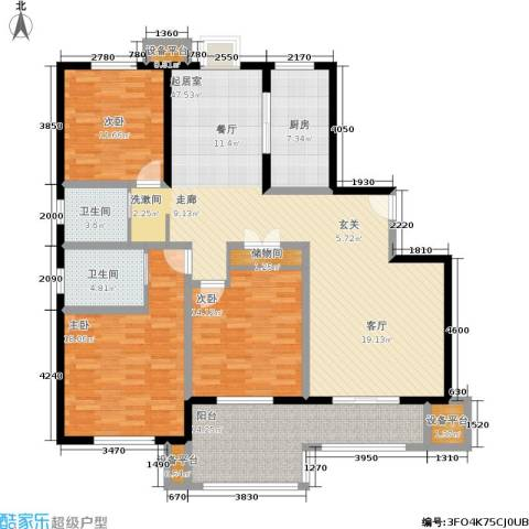 水岸豪庭东苑3室0厅2卫1厨144.00㎡户型图
