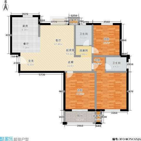 水岸豪庭东苑3室0厅2卫0厨135.00㎡户型图