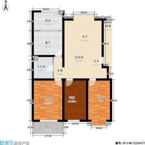 绿城叠翠园3室1厅1卫1厨155.00㎡户型图