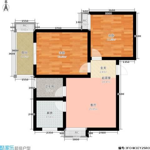 世纪锦城2室0厅1卫1厨76.00㎡户型图