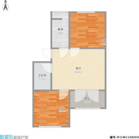 西平里2室1厅1卫1厨58.00㎡户型图