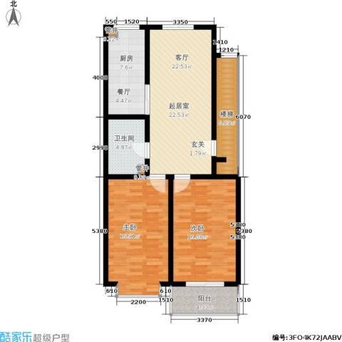 绿城叠翠园2室0厅1卫1厨113.00㎡户型图