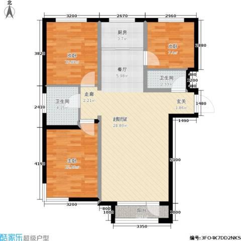 海湖豪庭3室0厅2卫1厨109.00㎡户型图
