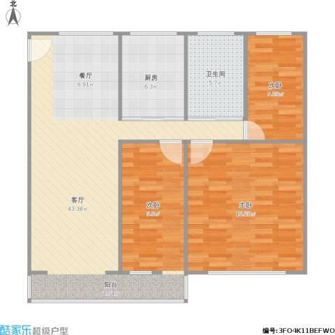 天津新村2室1厅1卫1厨109.00㎡户型图