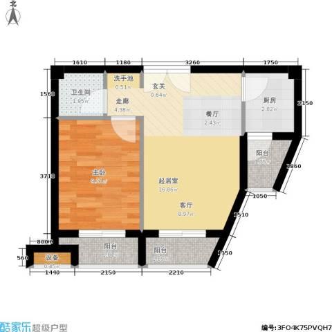 鼎晟金科凯城1室0厅1卫1厨68.00㎡户型图