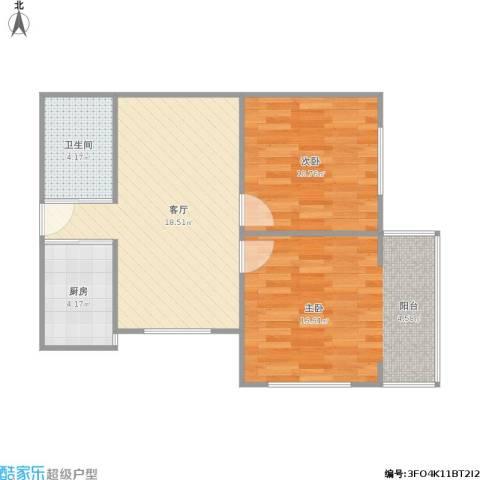 芳草园2室1厅1卫1厨73.00㎡户型图