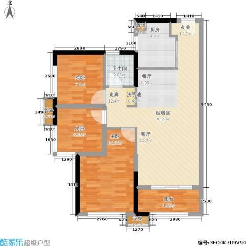 万科城市花园3室0厅1卫1厨100.00㎡户型图