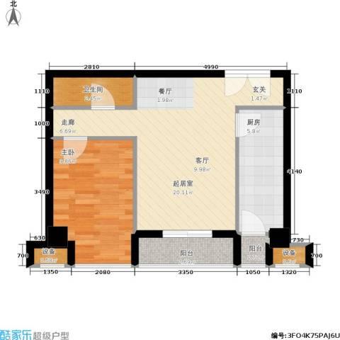 鼎晟金科凯城1室0厅1卫1厨72.00㎡户型图