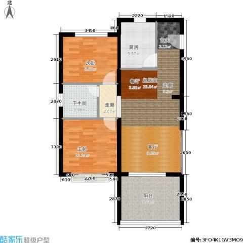 三亚・金棕榈2室0厅1卫1厨69.00㎡户型图