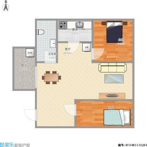 五米阳光2室1厅1卫1厨68.00㎡户型图