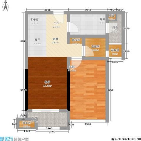 彰泰峰誉1室1厅1卫1厨56.86㎡户型图