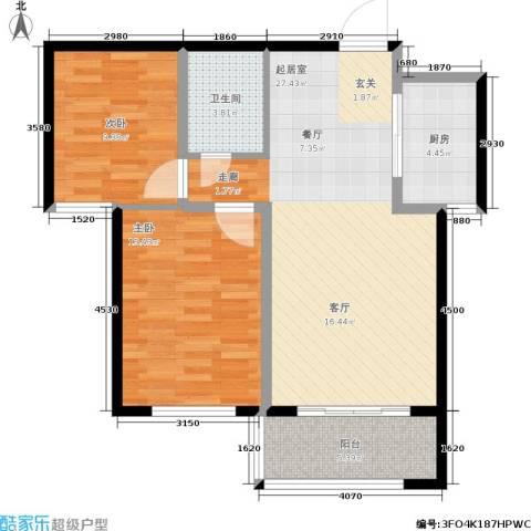 华北星城2室0厅1卫1厨89.00㎡户型图