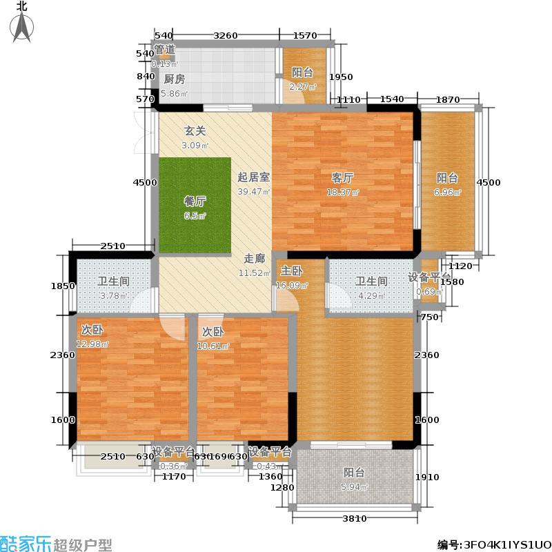 河畔新世界138.25㎡10-F户型3室2厅