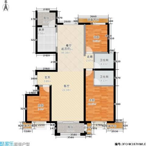 华北星城3室0厅2卫1厨107.47㎡户型图