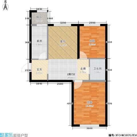 华北星城2室0厅1卫1厨84.00㎡户型图