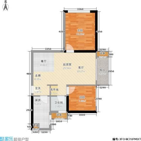 万科城市花园2室0厅1卫1厨76.00㎡户型图