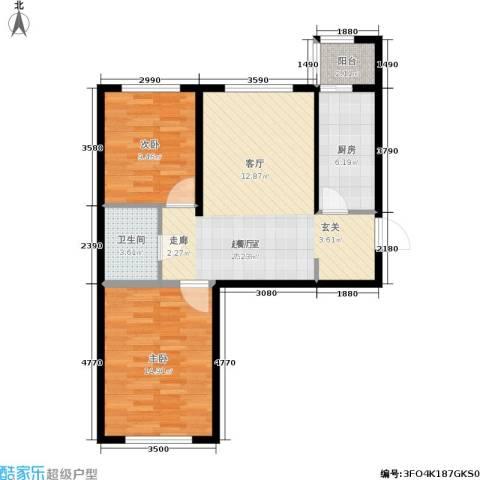 华北星城2室0厅1卫1厨88.00㎡户型图