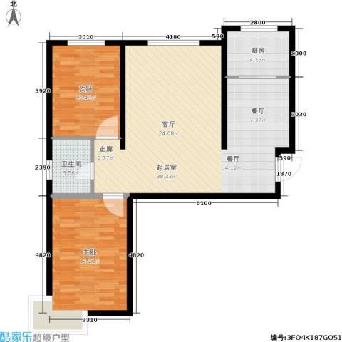 华北星城2室0厅1卫1厨99.00㎡户型图