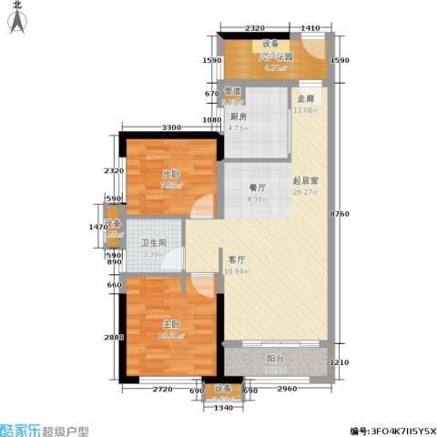 万科城市花园2室0厅1卫1厨90.00㎡户型图