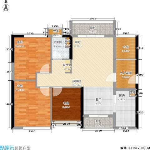 万科城市花园3室0厅1卫1厨110.00㎡户型图