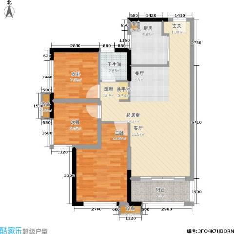 万科城市花园3室0厅1卫1厨88.00㎡户型图