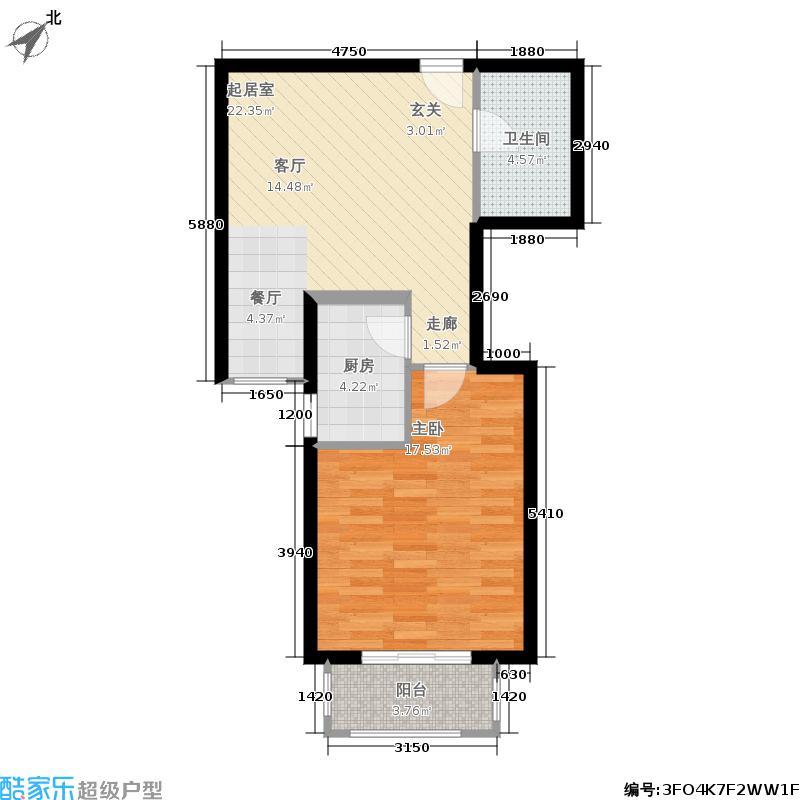 国色大观59.00㎡B-1户型一室一厅一卫户型1室1厅1卫