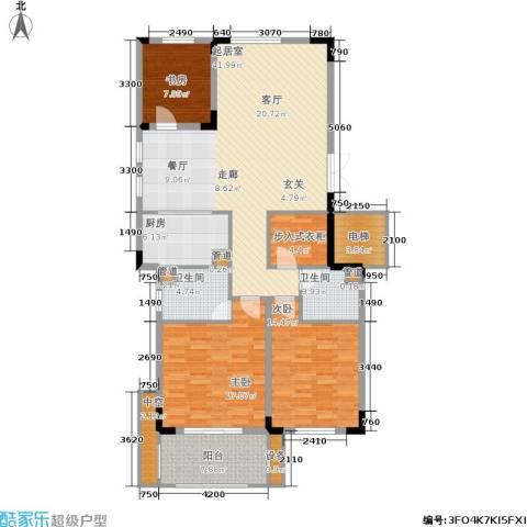 白云山庄3室0厅2卫1厨134.00㎡户型图
