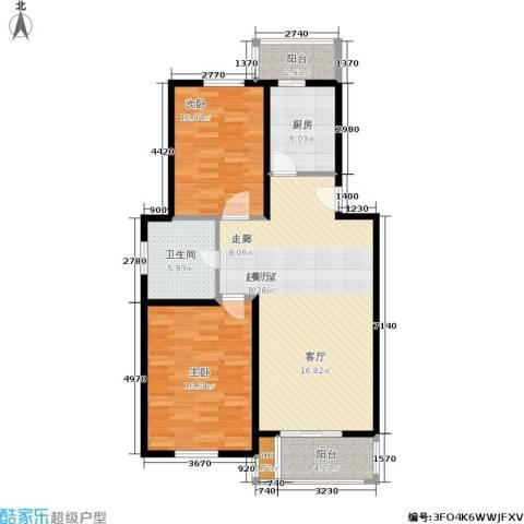 铭晖西郊苑二期2室0厅1卫1厨91.00㎡户型图