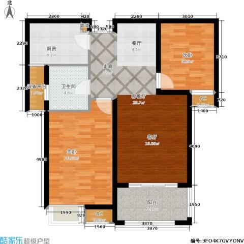中南世纪城2室1厅1卫1厨108.00㎡户型图