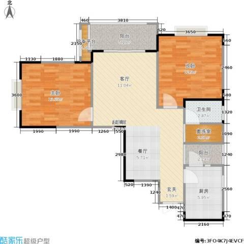 春天印象2室0厅1卫1厨87.00㎡户型图