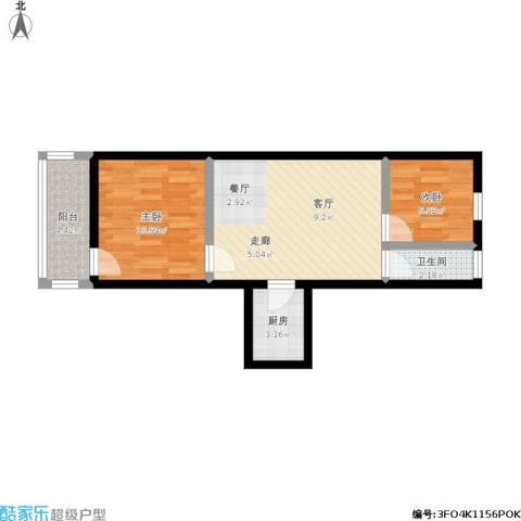 朝晖四区2室1厅1卫1厨64.00㎡户型图