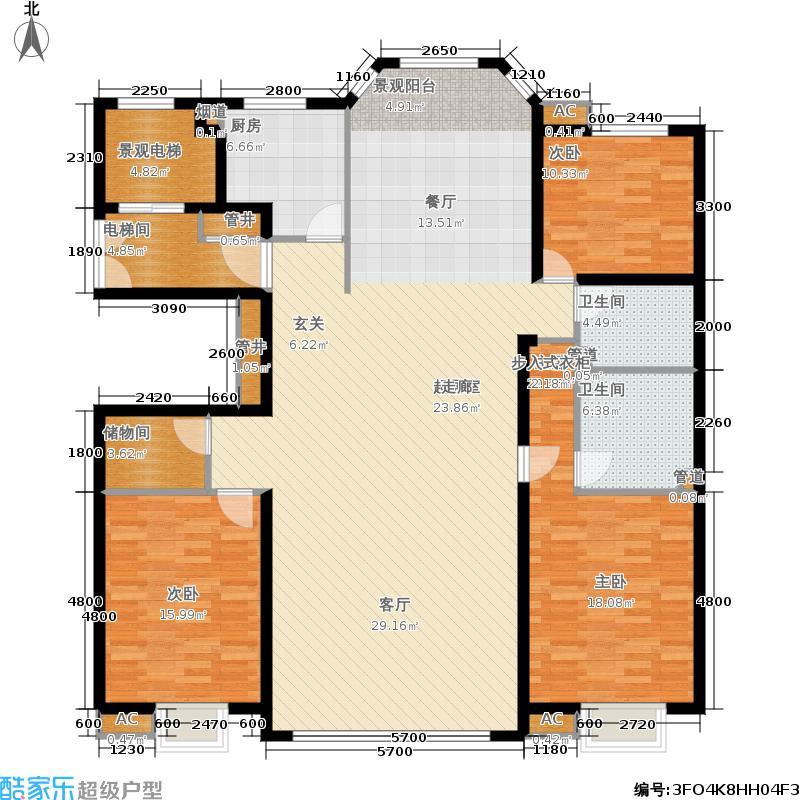 江南壹号江南壹号江南一号Style-B三室两厅两卫193.66㎡户型图户型3室2厅2卫