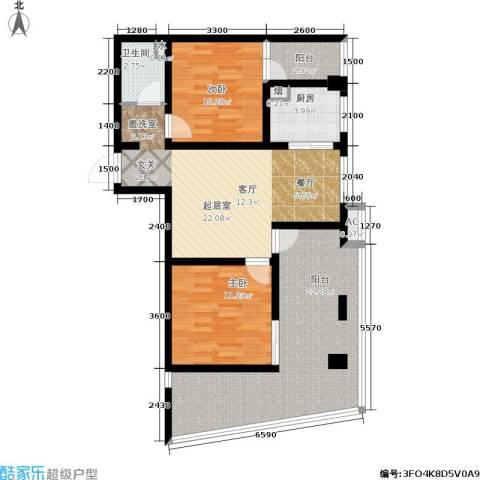 嘉来涪滨印象2室0厅1卫1厨76.29㎡户型图