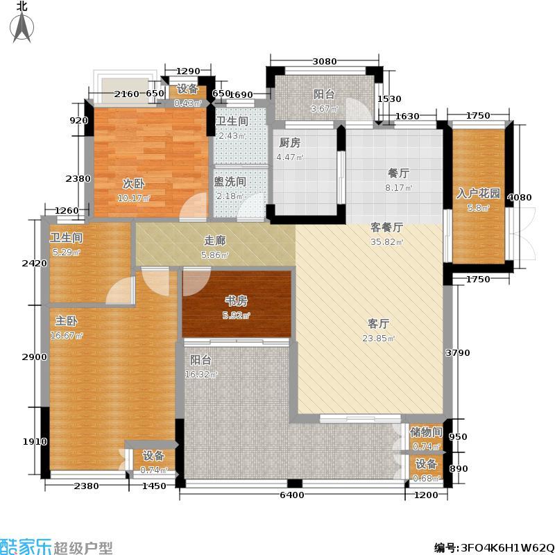 汇福佳园128.03㎡2-8栋户型3室2厅2卫