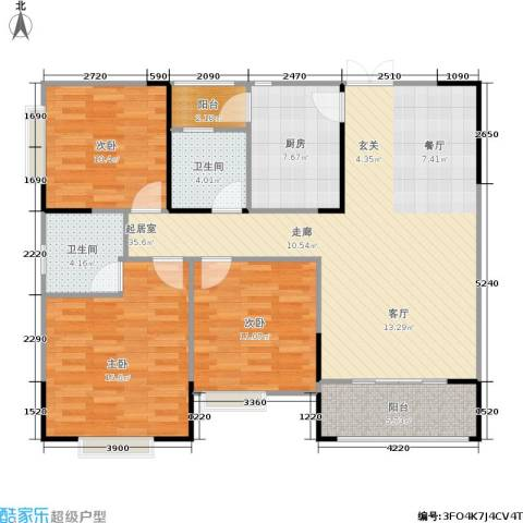春天印象3室0厅2卫1厨130.00㎡户型图