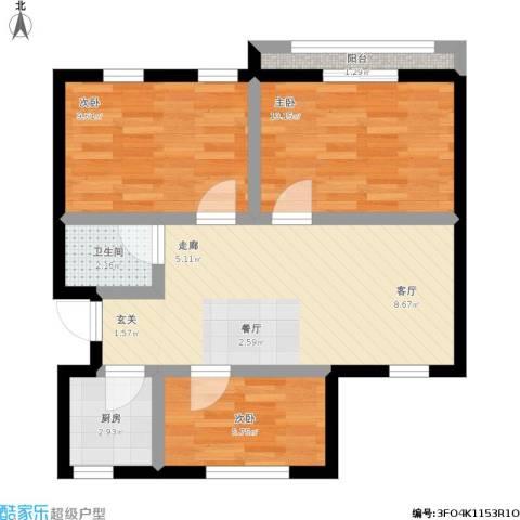 朝晖四区3室1厅1卫1厨74.00㎡户型图