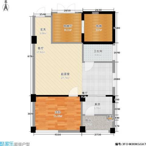 汉江・世纪星城1室0厅1卫1厨60.99㎡户型图