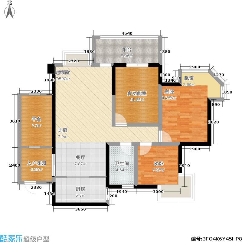 蓝光香江国际105.00㎡可变三室两厅一卫户型