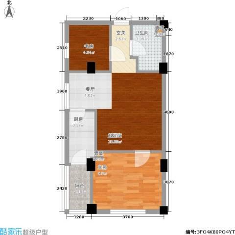 汉江・世纪星城2室0厅1卫1厨59.00㎡户型图