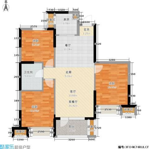 华强城3室1厅1卫1厨109.00㎡户型图