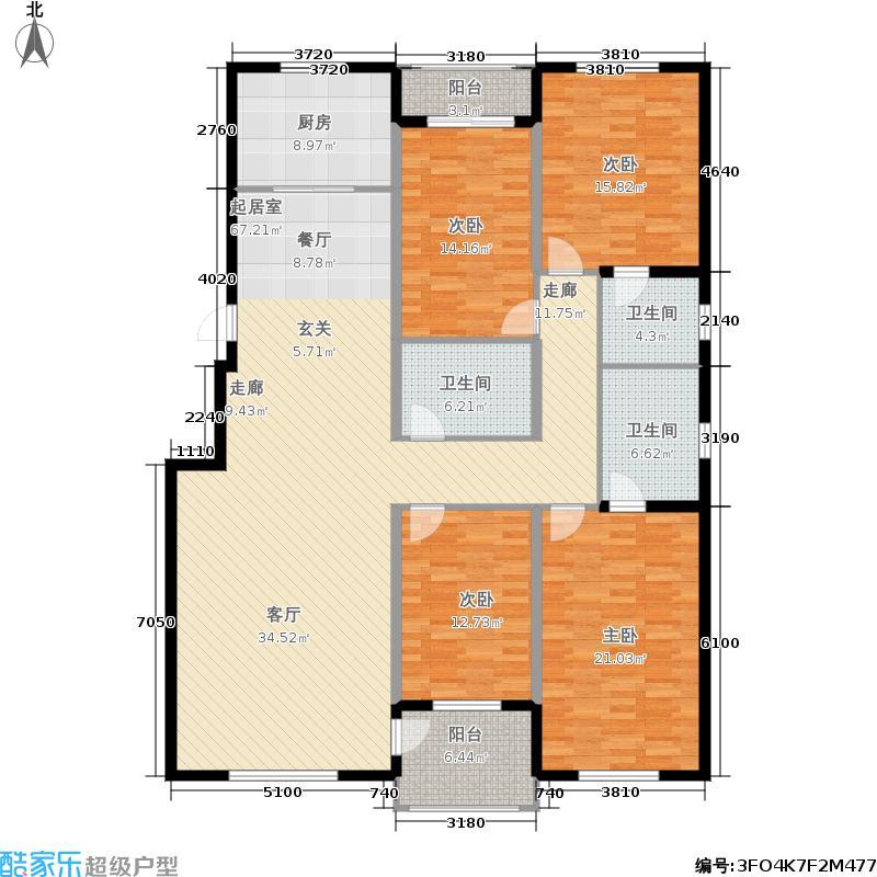 国色大观185.00㎡多层16-C户型四室两厅三卫户型4室2厅3卫