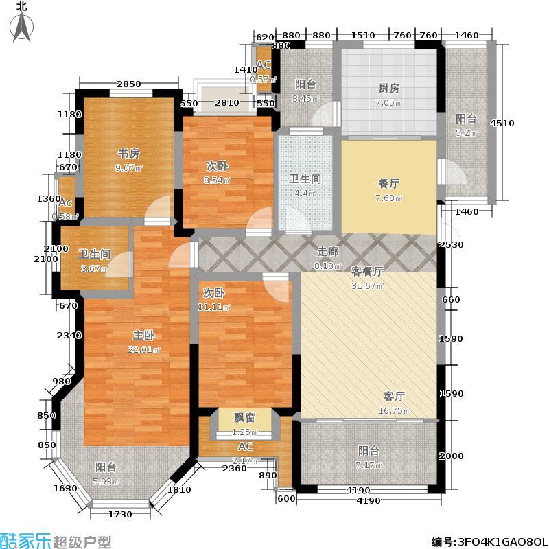 中南世纪城135.00㎡12#楼边户户型